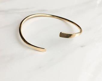 Simple gold tone bangle bracelet / adjustable / layering bangle/ layering bracelet/ chic and simple/ christmas gift, present
