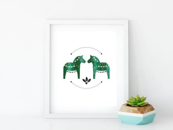 Green Dala Horse Art Print, Instant Digital Download