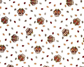 Scandinavian Cotton canvas fabric Helge - Owls - 150 cm  (59 inches) wide