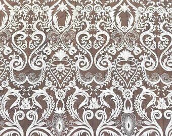 Baroque lace fabric by yard , off white lace fabric Embroidery lace fabric-LSME0006