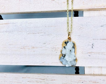 Agate Druzy Pendant on 12k Gold chain with 12k Gold Bail