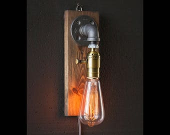 Industrial lamps pipe lighting bookend by urbanindustrialcraft for Applique lampe de chevet