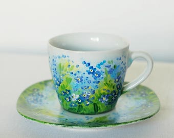 Hand painted cup with forget me nots