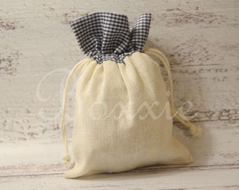 Navy gingham plaid top cotton fabric bag 5x7 inch set of 3