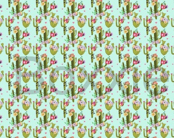 Cactus and flower wrapping paper sheet or roll, gift wrap, cacti, botanical, flower, desert, succulent theme, hand drawn GW2012