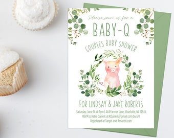 babyq baby shower invitation watercolor pig couples baby shower invite download green laurels