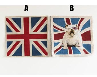 "UK Flag and Bulldog on Panel Fabric, Linen Fabric, Retro Fabric, Jaquard fabric, Wall Hanging,19""X19""(50cmX50cm)"