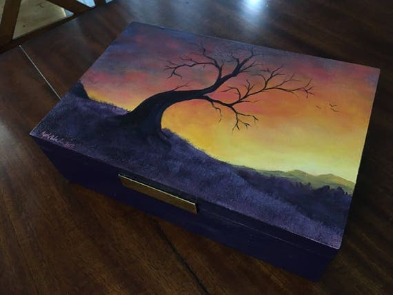 "Hand-painted Wooden Storage Box - ""Sunset"""