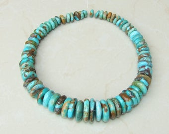 Natural Turquoise Graduated Coins - Genuine Turquoise Beads - Real Turquoise - Turquoise Stones - 10mm to  25mm - 15 inch Strand - 4705