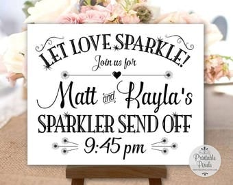 Sparkler Send-Off Printable Wedding Sign, Black Lettering, Personalized with Names and Time (#SPK2B)