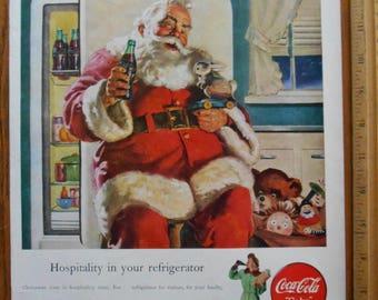 Ships Free in US, Vintage Life Magazine Coca Cola Ad Santa Raiding the Fridge, Coca-Cola Santa Ad to Frame from '47, Vintage Coke Santa