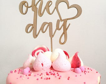 One day - wedding cake topper - personalised wood cake decoration - engagement cake topper - custom heart timber cake toppers