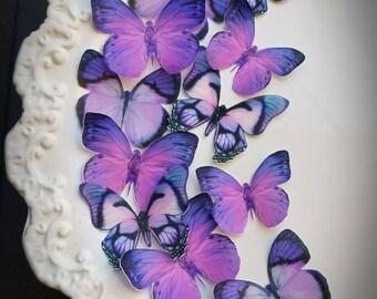Edible Sugarbutterflies© Ultra Violet, Hyacinth Violet Edible Cake-Cupcake Toppers,12