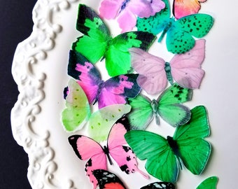 Edible Sugarbutterflies© Pink and Mint Edible Cake-Cupcake Toppers,12