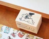 No. 09 Riding a Rabbit / Original Rubber Stamp / Designed by Krimgen