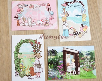 SET of 4 POSTCARDS - Gardens, Sea, Ballet&Sweets, Fary tales -