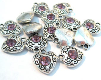 Antique Silver Heart with Light Amethyst Rhinestone Charms Pendants 12mm