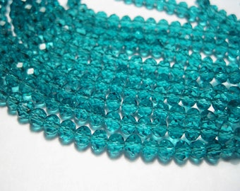 1 Strand Dark Cyan Faceted Transparent Glass Bead 4mm Rondelle ( No. 15A)