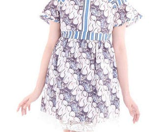 Blue Party Dress, Nawang Parang Dress Handmade Dress, Indonesia Traditional Batik, Girls Party Dress, Cotton Dress, Maxi Dress, Cotton Dress