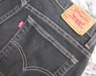 Sz 8 Levis 515 Jeans Womens Red Tab Black w/ Contrasting Stitch Boot Cut Lower Rise Denim Jeans