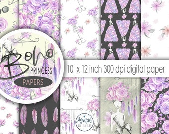 Boho Princess Digital Papers, boho paper, boho background, Watercolor designer paper, planner, fabric, stickers, invitations, dashboard