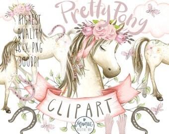Boho Pony Clipart,Pony Clipart,Pony Watercolor,Horse Clipart,Clipart,Nursery Clipart,Invitation Birthday,Planner Clipart,Pony Illustration