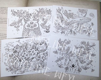 Set of 4 postcards coloring coloring