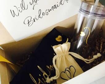 Bridesmaid proposal box, proposal gift, proposal box, bridesmaid gift, wedding gift, skinny tumbler, bridesmaid shirt,