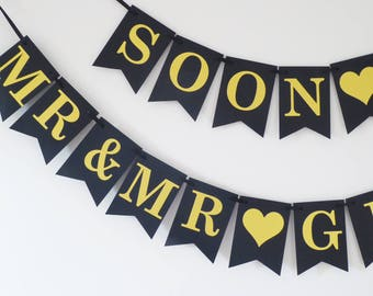 Same sex wedding, engagement decor, Soon to be Mr and Mr bunting personalised, gold and black