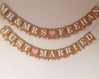 Personalised Mr and Mrs wedding name bunting, Just married bunting