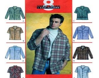 McCalls 3293, Mens Dress Shirt, Casual Shirt, Button Front, Long Sleeve, Short Sleeve, Patch Pocket, Size Xlg, XXl, XXXL, Men Sewing Pattern