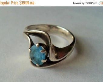 CIJ SALE Southwestern Sterling Blue Topaz Ring, Big Blue Gemstone sterling silver ring, Southwestern style healing gift for her Gingerslittl