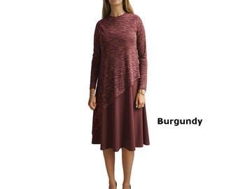 Baby'O Women's Layered Asymmetrical Modest SWEATER KNIT Midi Dress