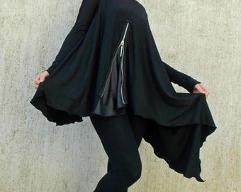 SALE 20% OFF Black Asymmetric Tunic / Black Tunic / Loose Tunic with Leather Inset TT44