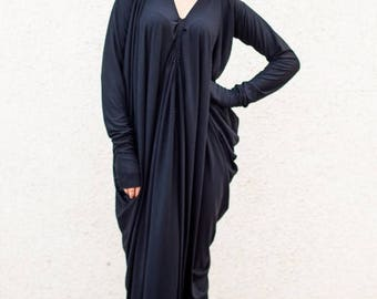 ON SALE Black Maxi Dress, Maxi Dress, Black Kaftan, Casual Dress, Black Long Extravagant Dress, Long Sleeves Loose Dress TDK07 by Teyxo