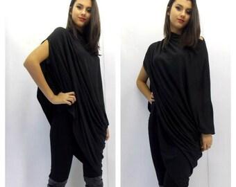 SALE 15% OFF Asymmetric Tunic / Plus Size Tunic / Black Loose Tunic / Oversize Tunic Dress / Black Dress Tunic / Maternity Tunic TT06