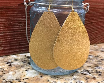 Gold, metallic pebbled leather teardrop earrings