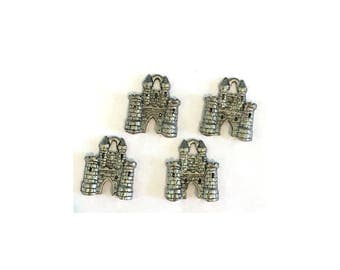 Castle CHARM (4) charms antique pewter - 4 charms per pack Princess castle