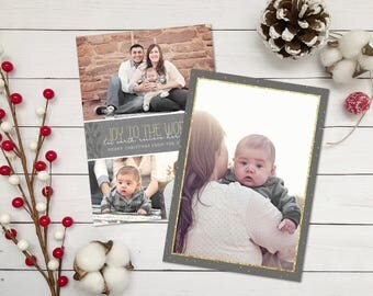 Joy to The World Christmas Card - Photo Christmas Card - Photo Collage Holiday Card - Gray - Gold Glitter - Double Sided - Printable - Photo