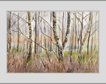 Birches II, LANDSCAPE Watercolor Painting