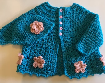 Girls 12-24 Month Crochet Sweater and Beanie Set