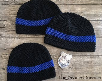 Mens Crochet Thin Blue Line Beanie; Police Officer Beanie