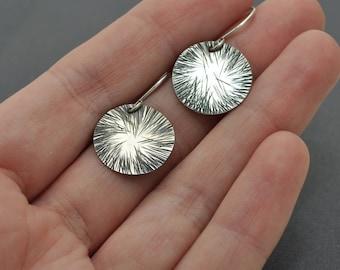 Disc Earrings, Oxidised Earrings, Hammered Earrings, Sterling Silver Dangle, Star Earrings