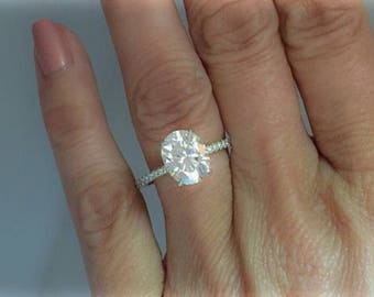 Forever One Oval Moissanite Diamond Engagement Ring 3.0ct Oval Moissanite .44ct  Natural Diamonds 14k White Gold Pristine Custom Rings