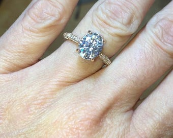Oval Moissanite Engagement Ring 2.10ct Forever One Ring 47.ct Natural Diamonds Hidden Halo Wedding Ring Rose Gold  Pristine Custom Rings