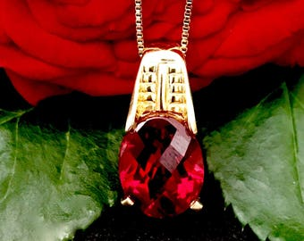 Vintage rose cut rhinestone ruby red pendant necklace chain link silver gold over lay