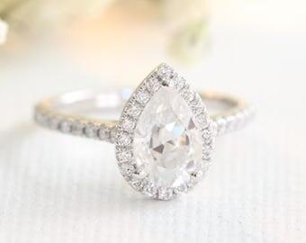 Pear Moissanite Engagement Ring in 14k, 18k White Gold Halo Diamond Ring 9x6mm Forever One Moissanite Ring Half Eternity Diamond Band