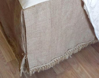 Burlap Dust Ruffle - Bed Skirt with Rustic Fringe - Burlap Bedskirt - Burlap Bedding - Farmhouse Bedskirt - Burlap Valance -  King Size