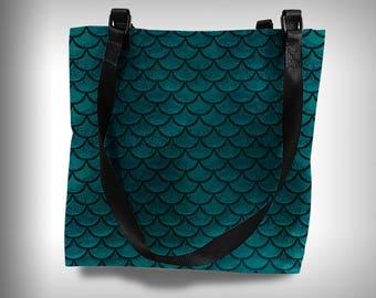 mermaid reversible tote bag school bag beach bag boat bag purse market bag grocery bag craft