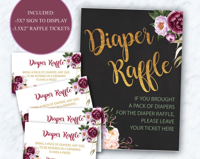 Burgundy Diaper Raffle Tickets + Sign // Purple // Red // Pink // Gold // Chalkboard // Floral // Printed Cards // FLORENCE COLLECTION
